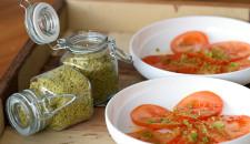 Carpaccio van tomaat met pistachezout