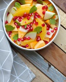 Fruitsalade in een herfstjasje