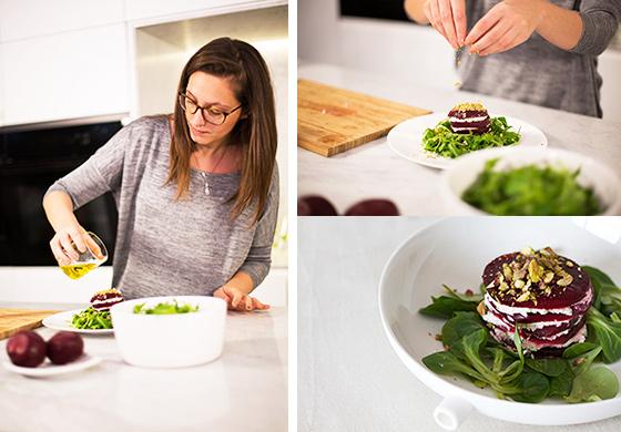 Salade met boursin en rode biet